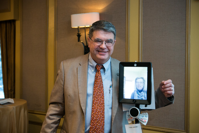 Dr Amadei with Double Robot at Engineers Week